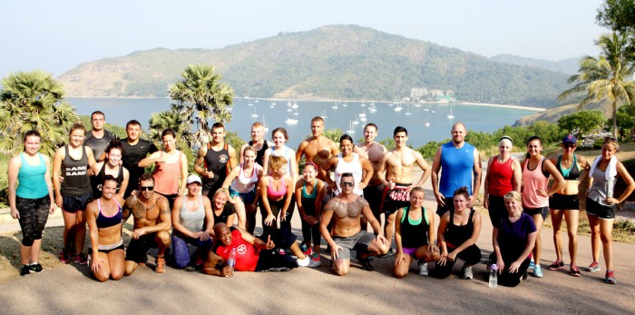 Bodyfit off-site Bootcamp Class in the hills overlooking Naiharn Beach.