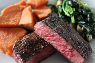 Australian Wagyu Steak with Sweet Potatoes and Garlic Mushroom Sautéed Spinach