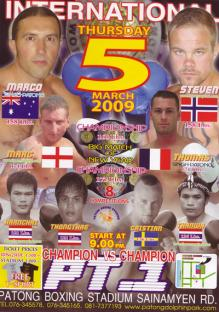 Patong Stadium Fight Card Poster March 5, 2009