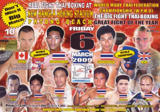Muay thai fight card poster march 6, 2009 Phuket, Thailand