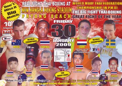Muay Thai Fight Poster jan 30, Phuket, Thailand. Bangla Stadium, Patong