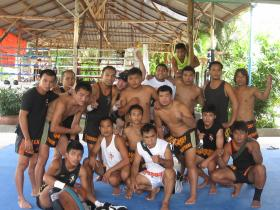 Matthew Semper with friends and family at Tiger Muay Thai, Phuket, Thailand